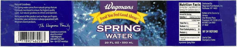Wegmans Spring Water Label