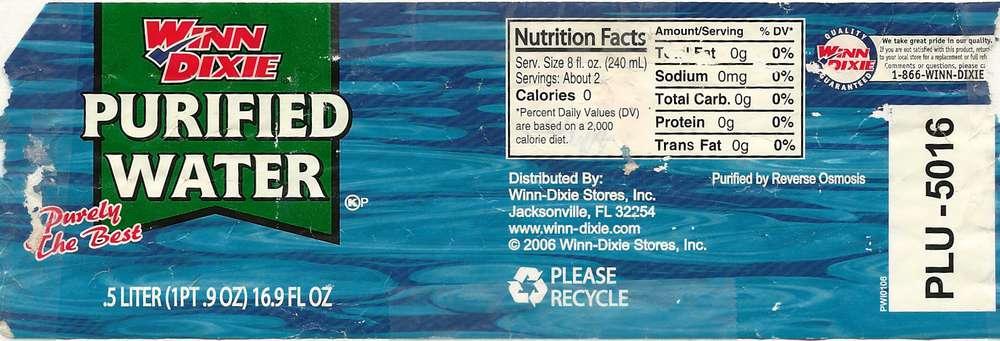Winn-Dixie Purified Water Label