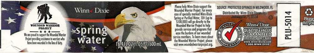 Winn-Dixie Spring Water Label