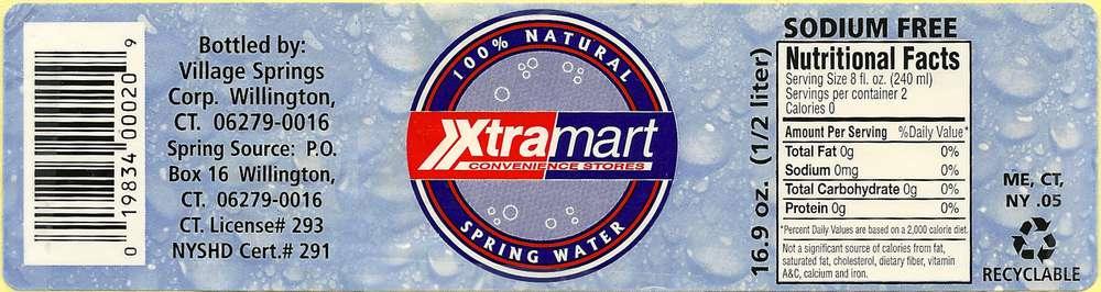 Xtramart Natural Spring Water Label