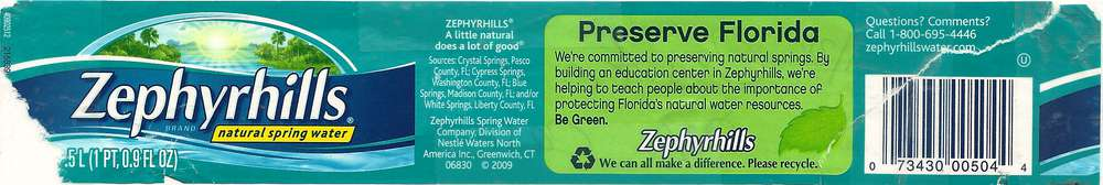 Zephyrhills Natural Spring Water Label