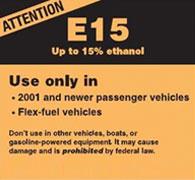 E15 warning label