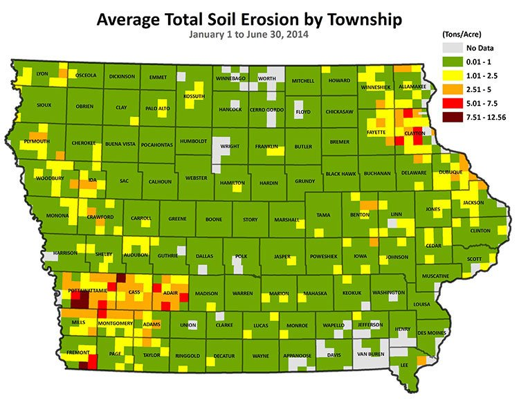 Average Total Soil Erosion by Township