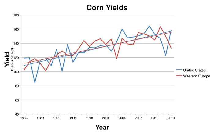 Line chart showing increasing corn yields