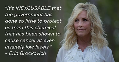 Quote: It's inexcusable that the government has done so little to protect us from this chemical that has been shown to cause cancer at even insanely low levels. - Erin Brockovich