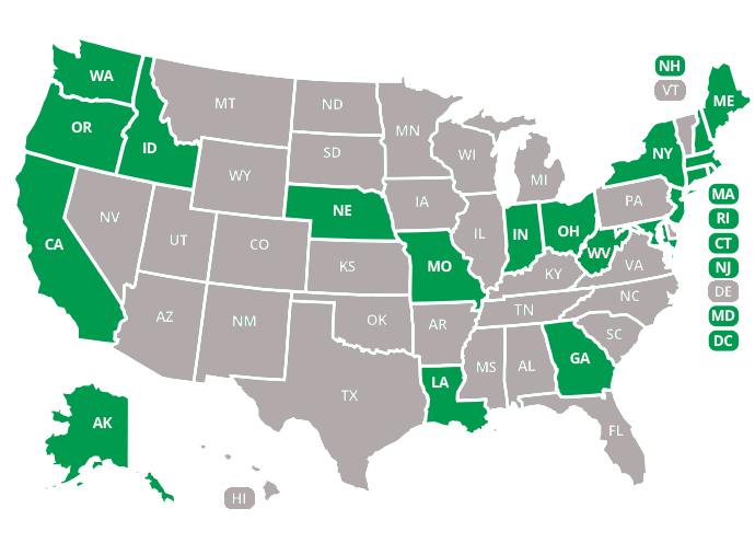 Map of States with PCB contamination