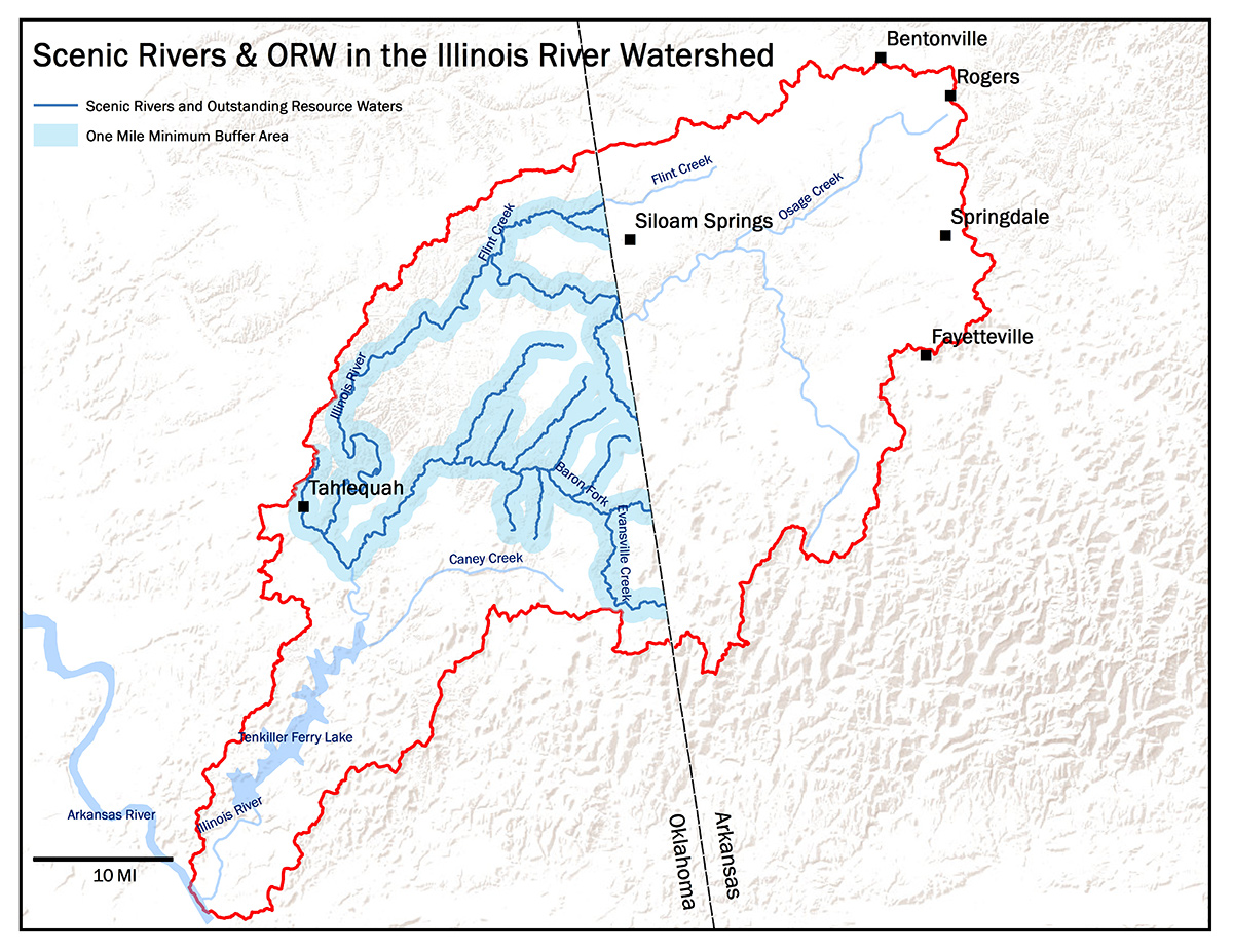 Map of the Illinois River Watershed