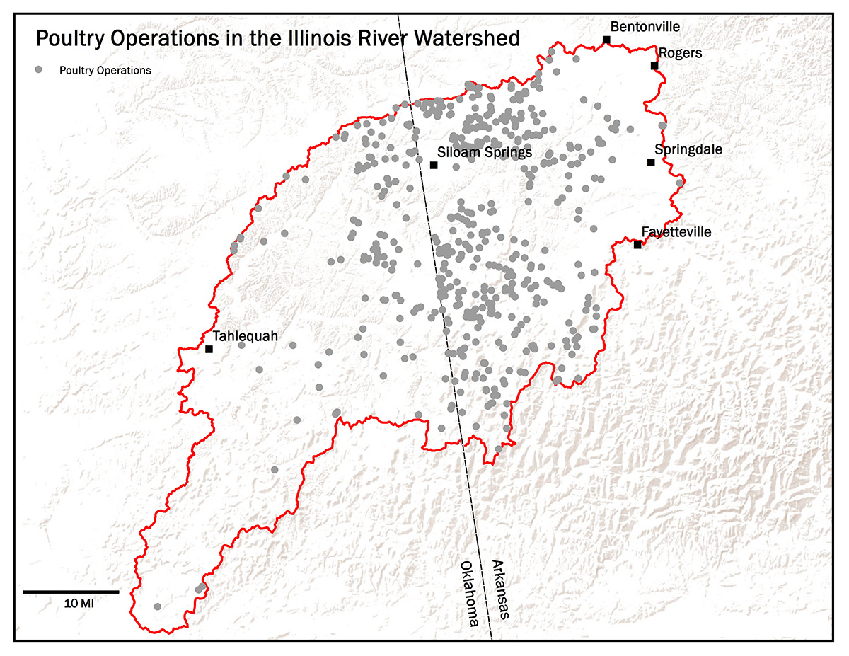 Map showing location of poultry barns in the Illinois Watershed