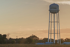 Midwest city with water tower
