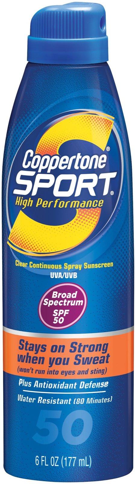 0330e9a99a65 Coppertone Sport High Performance Sunscreen Continuous Spray, SPF 50 ...